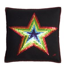 Hand Embroidered Sequin Star Cushion | Jan Constantine