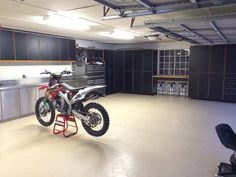 Garage Organization cabinets floor painted