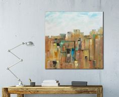 Large abstract art, wood wall art, city skyline, New York, distressed wood, square, modern art, industrial art, modern rustic art, painting by WoodScapeArt on Etsy