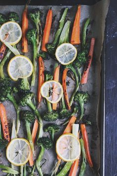 Roasted Broccoli + Carrots with Crispy Quinoa, Goat Cheese + Lemony Oregano Dressing \\\ via with food + love