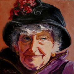 100 Portraits in 100 Days - Ethel, 81/100 by Carol Nelson Oil ~ 6 x 6