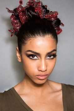 Iman Hammam backstage at Jean Paul Gaultier Fall 2013 Haute Couture ♥♥♥