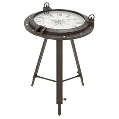 Casa Cortes Industrial Metal Round Clock Coffee Table | Overstock.com