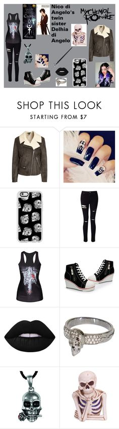 """""""Delhia di Angelo daughter of Hades. Twinsister of Nico di Angelo"""" by angel-di-angelo on Polyvore featuring H&M, Casetify, Miss Selfridge, Lime Crime, STONE and Melrose International"""