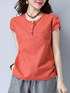 Round Neck Single Breasted Plain Short Sleeve T-Shirt Blouse Styles, Blouse Designs, Sewing Blouses, Sleeve Pattern, Shirt Blouses, Shirts, African Fashion Dresses, Short Tops, Casual Outfits