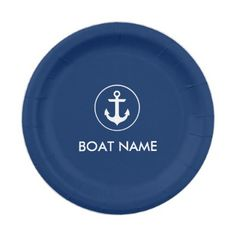 Nautical Blue Anchor Boat Name Paper Plates NB - paper gifts presents gift idea customize