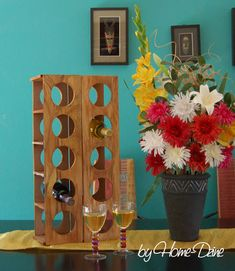 how to make a modern wine rack with faux wood grain finish: http://www.home-dzine.co.za/diy/diy-MDFwine-rack.htm