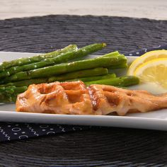 """Waffled Salmon with Miso-Maple Glaze and Asparagus: Recipe excerpted from """"Will It Waffle?"""" by Daniel Shumski (Workman Publishing).  Copyright © 2014.  For more information on """"Will It Waffle?"""" or to buy the book, visit www.willitwaffle.com"""
