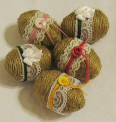 Looking for something different for your Easter décor? Well, here you go... These jute rope wrapped eggs will make the perfect addition to your