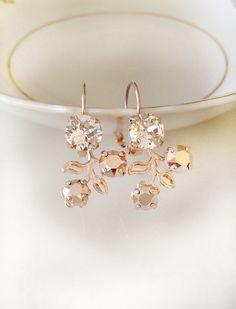 Blush earrings, Swarovski crystal earrings, floral, flower, drop earrings, bridesmaid gift, vine, morganite peach blush