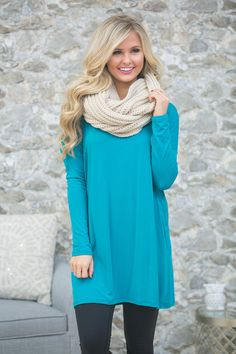 The Pink Lily - Hello Beautiful Tunic Teal , $34.00 (https://pinklily.com/hello-beautiful-tunic-teal/)