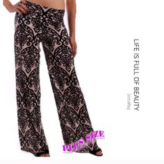 "ELEGANT BAROQUE SCROLL PALAZZOS Beautiful black baroque scroll on taupe print. Lovely pants suitable for day or evening. Same print I saw on the walls in the palace of Versailles. 95% rayon/5% spandex. 1X hips 42"" 2X hips 44"" 3X hips 46"". Made in USAPLEASE DO NOT BUY THIS LISTING! I will personalize one for you. INSEAM: 32.5"" tla2 Pants"