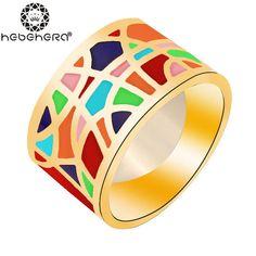 1 Шт. Позолоченные Элегантный 1.3 см Ширина Удивительная Геометрия Pattern Красочный Яркий Эмаль Кольца Ювелирные Изделия WR6