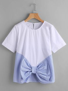 SheIn offers Contrast Striped Bow Front Keyhole Top & more to fit your fashionable needs. Girls Fashion Clothes, Teen Fashion Outfits, Trendy Outfits, Trendy Fashion, Kids Outfits, Kids Fashion, Cute Outfits, Frock Design, Mode Style