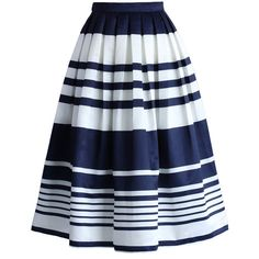 Chicwish Keep it Striped Midi Skirt in Navy ($40) ❤ liked on Polyvore featuring skirts, blue, mid-calf skirt, blue pleated skirt, midi skirt, pleated skirt ve stripe midi skirt