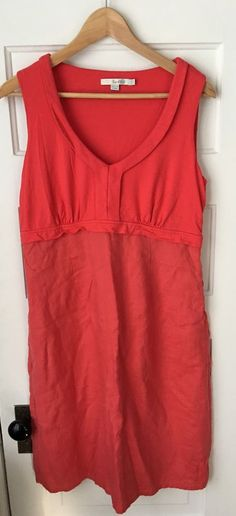 "Boden Linen Jersey Dress in Deep Carmine (red). Viscose blend bodice with linen skirt. Empire waist. Size US 10R. Length: 39"". 