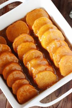 Sweet potato coins bathed in brown sugar-butter glaze, with just a hint of fresh citrus for great flavor and balance. The perfect addition to any Thanksgivng, Christmas, or Fall dinner.