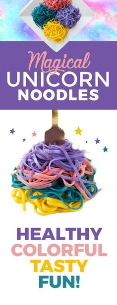 Unicorn rice noodles with natural dyes — beets, purple cabbbage, baking soda, and turmeric
