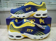 Sigma Gamma Rho sneakers in the WorthPoint Worthopedia Price Guide, page 1 of 1 Royal Blue And Gold, Blue Gold, Gold Sneakers, Air Max Sneakers, Sorority Fashion, Greek Gear, Sigma Gamma Rho, Sorority And Fraternity, Leather Material