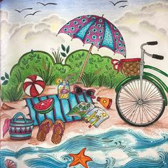 This rainy day i can't wait to go a beach in Croatia ❤️#meinsommerspaziergang by #ritaberman #colouring #coloring #adultcoloring #coloringforadults #mycreativeescape #beautifulcoloring #coloring_secrets #coloringmasterpiece #majesticcoloring #artecomoterapia #bayan_boyan #divasdasartes #arte_e_colorir #boracolorirtop #adultcoloringforum #topcoloridos #jardimsecretolove #polychromos #mindfulness #fabercastell #softpastels #beach #posca #bike #summer #summerday
