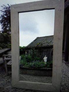 Grote steigerhouten spiegel #leeuwdesign