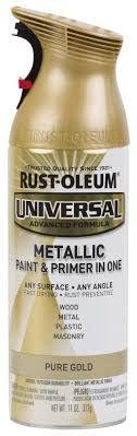 Rust-Oleum Universal Gloss Pure Gold Metallic Spray Paint and ... Best Spray Paint, Metallic Spray Paint, Metallic Paint Colors, Spray Paint Furniture, Painted Furniture, Rustoleum Metallic, Aged Copper, Paint Primer, Paint Drying