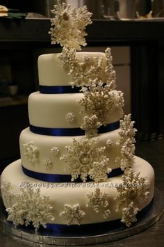 Coolest Snowflake Wedding Cake