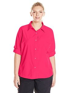 Columbia Womens Silver Ridge Long Sleeve Shirt Plus Size Punch Pink 2X ** Continue to the product at the image link.