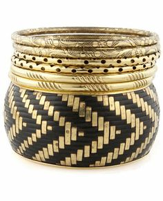 Treasure Trove Gold & Black Bangle Set