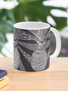 """Pineapple Wrap   black & white"" Mug by janinelecour   Redbubble Custom Mugs, Pineapple, Ceramics, Tea, Canning, Black And White, Coffee, Tableware, Prints"