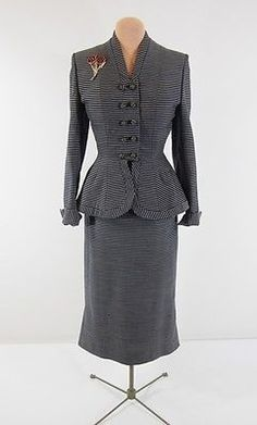 1940 | Navy Blue and Grey Stripe Wool Skirt Suit with Peplum Jacket and Pencil Skirt by Lilli Ann
