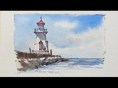 Pen and Wash watercolor Demostration of a Lighthouse. Great for begginers using just 3 color. - YouTube
