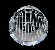 Vintage Art Deco Chrome Hendryx Hat Box Round Pet Bird Cage House Parakeet Old
