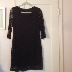 Black Lace Dress! FORVER 21 A black lace dress (only see through lace on the sleeves) from FOREVER 21. Comes to right above the knee. Doesn't fit me right - can't take a great photo of it on me! Forever 21 Dresses