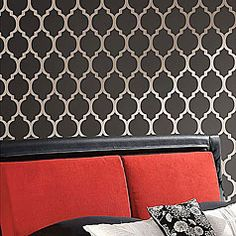 Allover moroccan stencil designs instead of wallpaper. Stencils for accent wall painting. Large stencil catalog by Cutting Edge Stencils Decor, Damask, Large Wall Stencil, Stencil Painting On Walls, Stencils Wall, Easy Wall, Wall Painting, Wall Patterns, Moroccan Stencil