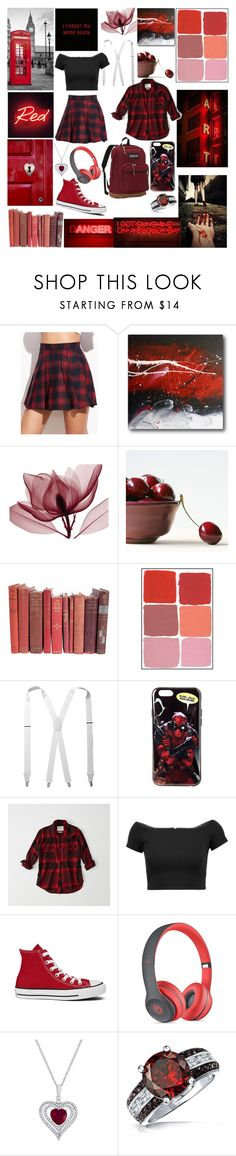 """""""They Call Me Red"""" by lyonserenity ❤ liked on Polyvore featuring Stacy Adams, Marvel, Abercrombie & Fitch, Alice + Olivia, Converse, Beats by Dr. Dre, Bling Jewelry and JanSport"""