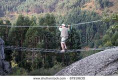 stock photo : Man on radical bridge