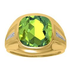 Diamond and Green Peridot Men's Large Ring In Yellow Gold Father's Day 2015 Unique Jewelry Gift Presents and Ideas. Gemologica.com offers a large selection of rings, bracelets, necklaces, pendants and earrings crafted in 10K, 14K and 18K yellow, rose and white gold and sterling silver for that special dad. Our complete collection and sale of personalized and custom gifts for dad: www.gemologica.com/mens-jewelry-c-28.html