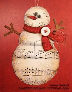 Snowman out of old music paper. Would love this for gift tags. Snowman out of old music paper. Would love this for gift tags. Crafty Christmas Gifts, Noel Christmas, Christmas Projects, Handmade Christmas, Christmas Decorations, Music Christmas Ornaments, Christmas Wreaths, Fireplace Decorations, Christmas Fireplace
