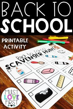 This picture based back to school scavenger hunt is perfect for use in a preschool, kindergarten or first grade classroom.  A great printable activity to help students get to know their new classroom when they go back to school. Three versions are included!  #preschool #kindergarten #firstgrade #backtoschool #esl #esol #ELL #teacher #mustlovefirst