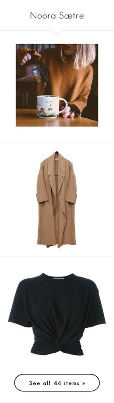 """Noora Sætre"" by mara-13-1 ❤ liked on Polyvore featuring outerwear, coats, jackets, coats & jackets, oversized coat, beige coat, cotton long coat, leather-sleeve coats, long sleeve coat and tops"