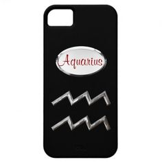 Aquarius Zodiac Star Sign Garnet Red Silver   A fantastic phone case design for any one born under the zodiac star sign of Aquarius.with text in a shade of garnet red to reflect the birth stone color and silver faux plate on black