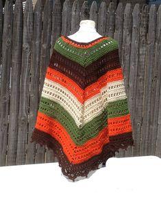 Poncho Shawl Hand Crocheted Wrap Hippie Bogo by ToppyToppyKnits