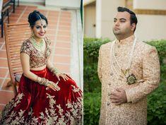 A light peach with all-over gold threadwork sherwani from Studio Mujhrosa and an ornate safa for Groom Gope of WeddingSutra. Photo Courtesy: Dotdusk Studios