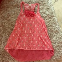 Coral Seahorse Print Tank Racerback zipper tank with seahorse print on front, sheer back. EUC Tops Tank Tops