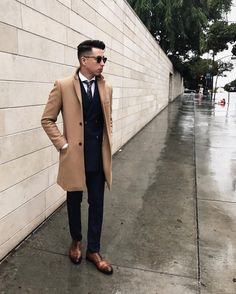perfect fit // menswear, mens, style, fashion, topcoat, camel, overcoat, suit, oxfords, sunglasses, tie, haircut, hair, style, cut, holiday, winter, #sponsored