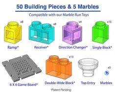 Marble Maze includes 48 patent pending building blocks, 1 game board, 1 top entry piece, 60 challenge cards (Beginner - Expert), and 5 marbles. Marble Toys, Steam Toys, Marble Maze, Challenge Cards, Logic Games, Stem Learning, 3d Puzzles, Learning Through Play, Building Toys