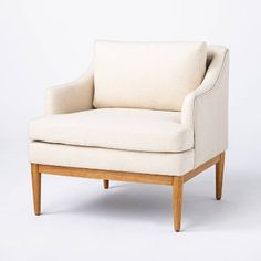 Howell Upholstered Accent Chair With Wood Base Fully Assembled Cream - Threshold™ Designed With Studio McGee : Target Studio Mcgee, My Living Room, Living Room Chairs, Dining Room, Living Spaces, Sitting Arrangement, End Tables With Drawers, Upholstered Accent Chairs, Wood Accents