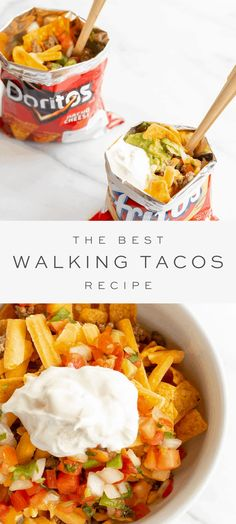 Learn how to create Walking Tacos for your next party! If you've never had a Taco in a Bag, you're missing all the fun. Bag Tacos never looked so good! Fun Easy Recipes, Easy Meals, Camping Recipes, Mexican Food Recipes, Beef Recipes, Taco In A Bag, Walking Tacos, Dinner And A Movie, Just Eat It