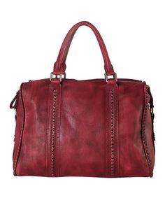 Look at this #zulilyfind! Red Leather Studded Satchel #zulilyfinds